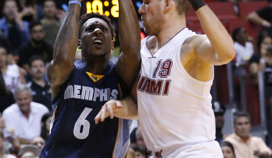 Memphis Grizzlies guard Mario Chalmers (6) goes up for a shot against Miami Heat guard Beno Udrih (19) during the first half of an NBA basketball game, Sunday, Dec. 13, 2015, in Miami. (AP Photo/Wilfredo Lee)