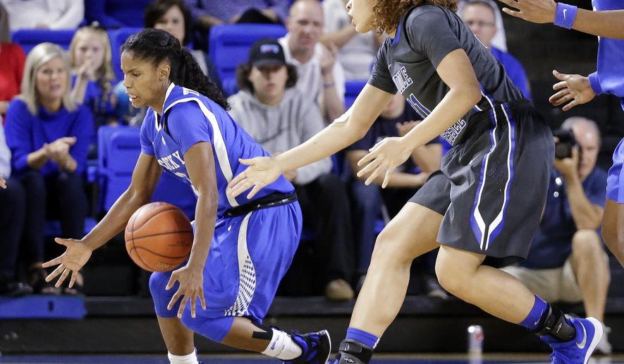 Kentucky guard Janee Thompson, left, steals the ball from Middle Tennessee forward Tianna Porter, right, in the first half of an NCAA college basketball game Sunday, Dec. 13, 2015, in Murfreesboro, Tenn. (AP Photo/Mark Humphrey)