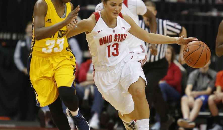 Ohio State's Cait Craft, right, brings the ball upcourt as North Carolina A&T's Christina Carter defends during the first half of an NCAA college basketball game Sunday, Dec. 13, 2015, in Columbus, Ohio. (AP Photo/Jay LaPrete)