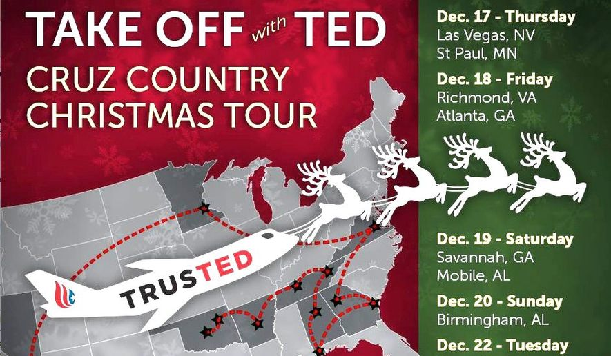 "Sen. Ted Cruz embarks on a 12-city ""Take Off With Ted"" tour immediately after the Republican presidential debate Tuesday night. (Cruz for President)"