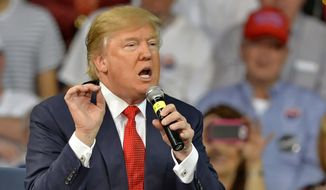 Republican presidential candidate Donald Trump speaks at a town hall meeting in the Convocation Center on the University of South Carolina Aiken campus in Aiken, S.C., in this Dec. 12, 2015, file photo. (AP Photo/Richard Shiro)