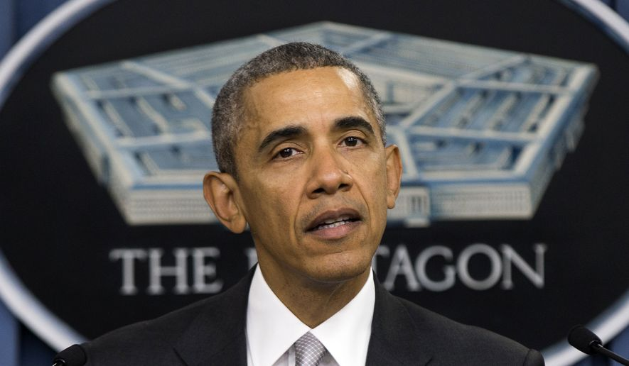 President Barack Obama speaks at the Pentagon, Monday, Dec. 14, 2015, about the fight against the Islamic State group following a National Security Council meeting. The president said the U.S. military and allied forces are hitting the Islamic State group harder than ever. (AP Photo/Evan Vucci)