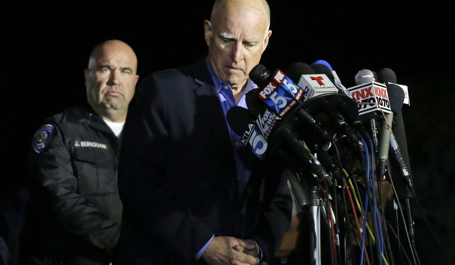 FILE - In this Thursday, Dec. 3, 2015, file photo, California Gov. Jerry Brown reacts as he speaks near the site of a shooting in San Bernardino, Calif. A husband and wife opened fire on a holiday banquet, killing multiple people on Wednesday, Dec. 2. Hours later, the couple died in a shootout with police. U.S. Rep. Mike Thompson, D-Calif., is hosting a hearing for finding ways to reduce gun violence on Monday, Dec. 14, in Sacramento, Calif. (AP Photo/Chris Carlson, File)