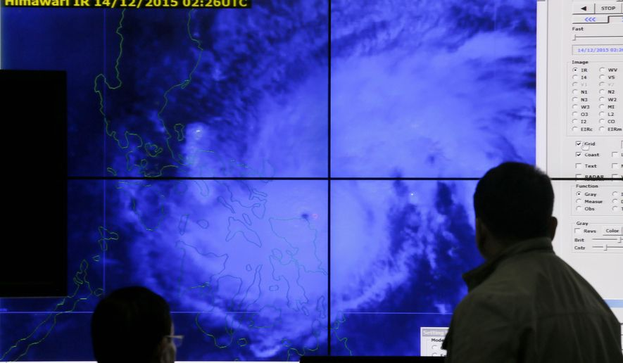 Government meteorologists monitor from a satellite image of Typhoon Melor fat the weather bureau center in suburban Quezon city, northeast of Manila, Philippines as it hits the eastern Philippines Monday, Dec. 14, 2015. Thousands of residents evacuated as the typhoon slammed into the eastern Philippines, where flood- and landslide-prone communities are bracing for destructive winds, heavy rains and coastal floods of up to 4 meters (13 feet), officials said Monday. (AP Photo/Bullit Marquez)