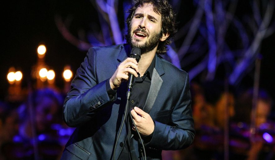 """FILE - In this Oct. 29, 2015 file photo, Josh Groban performs at the Dolby Theatre in Los Angeles. Groban will be making his Broadway debut next year as Pierre in """"Natasha, Pierre & the Great Comet of 1812,"""" a musical by Dave Malloy that dramatizes a 70-page melodrama at the center of """"War and Peace."""" (Photo by Rich Fury/Invision/AP, File)"""
