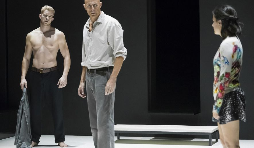 """This image released by Philip Rinaldi Publicity shows Russell Tovey, from left, Mark Strong and Phoebe Fox during a performance of """"A View From the Bridge,"""" currently on Broadway at the Lyceum Theatre in New York.  (Jan Versweyveld/Philip Rinaldi Publicity via AP)"""