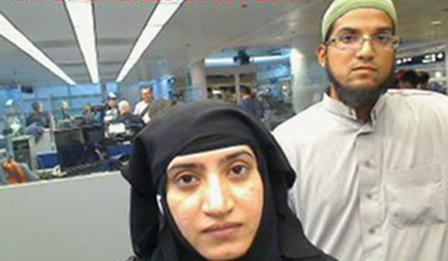 This July 27, 2014 photo provided by U.S. Customs and Border Protection shows Tashfeen Malik, left, and Syed Farook, as they passed through O'Hare International Airport in Chicago. (Associated Press)