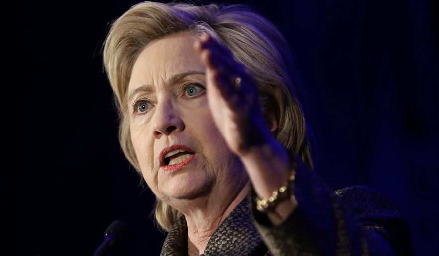 """""""I have news for [Republicans] — terrorists use guns to kill Americans. I think we should make it harder for them from to do that,"""" Hillary Clinton said in a counterterrorism speech Tuesday in Minneapolis. """"I have this old fashioned idea that we elect a president to keep us safe. ... I'm not going to let the gun lobby tell me that's not right."""" (Associated Press)"""