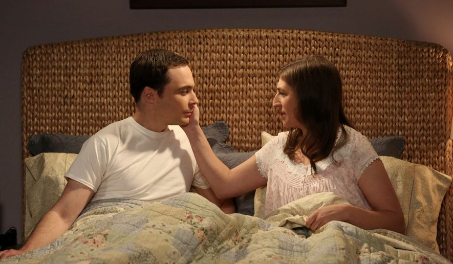 """This image released by CBS shows Mayim Bialik, right, portrays Amy, and Jim Parsons portrays Sheldon in a scene from """"The Big Bang Theory.""""  On Thursday's episode (8 p.m. EDT, CBS),  Sheldon and Amy have sex for the first time, more than six TV seasons after meeting through an online dating site. (Michael Yarish/CBS via AP) MANDATORY CREDIT; NO ARCHIVE; NO SALES; FOR NORTH AMERICAN USE ONLY"""