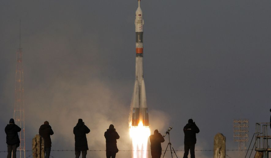 The Soyuz-FG rocket booster with Soyuz TMA-19M space ship carrying a new crew to the International Space Station, ISS, blasts off at the Russian leased Baikonur cosmodrome, Kazakhstan, Tuesday, Dec. 15, 2015. The Russian rocket carries British astronaut Tim Peake, Russian cosmonaut Yuri Malenchenko and U.S. astronaut Tim Kopra. (AP Photo/Dmitry Lovetsky)