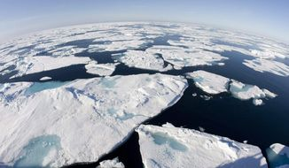 This July 10, 2008, file photo made with a fisheye lens shows ice floes in Baffin Bay above the Arctic Circle, seen from the Canadian Coast Guard icebreaker Louis S. St-Laurent. (AP Photo/The Canadian Press, Jonathan Hayward) ** FILE **