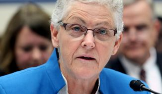 FILE - In this Sept. 17, 2015 file photo, Environmental Protection Agency (EPA) Administrator Gina McCarthy testifies on Capitol Hill in Washington. States and industry groups dependent on fossil fuels began filing court challenges Friday to President Obama's Clean Power Plan, which aims to reduce greenhouse gas emissions. (AP Photo/Lauren Victoria Burke, File)