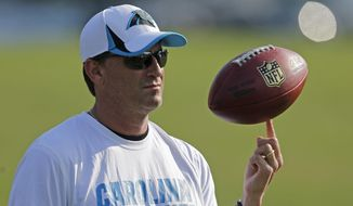 File-This July 26, 2013, file photo shows Carolina Panthers offensive coordinator Mike Shula spinning a football on his finger during practice at NFL football training camp in Spartanburg, S.C. Hall of Fame coach Don Shula is rooting for his son Mike and the Panthers to join his 1972 Miami Dolphins as the only undefeated Super Bowl champion. (AP Photo/Chuck Burton, File)