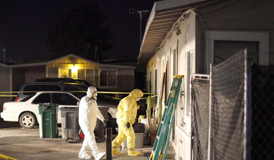 In this photo taken, Monday, Dec. 14, 2015, and released by the Monterey County Weekly, members of the Salinas Police Crime Scene Investigation unit walk into a house in Salinas, Calif., recently lived in by a woman and teenage boy arrested on suspicion of felony child abuse, torture and mayhem. Homicides detectives were investigating Tuesday after authorities found two children dead inside a commercial storage unit in Quincy, Calif., over 300 miles north of Salinas. (Nic Coury/Monterey County Weekly via AP)  MANDATORY CREDIT FOR PAPER AND PHOTOGRAPHER. MONTEREY HERALD OUT, SALINAS CALIFORNIAN OUT, SANTA CRUZ SENTINEL OUT, SAN JOSE MERCURY OUT, LOCAL TV OUT