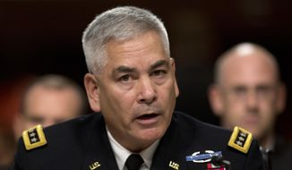Gen. John Campbell, the top American commander in Afghanistan, testifies on Capitol Hill in Washington, in this Oct. 6, 2015, file photo. (AP Photo/Carolyn Kaster, File)