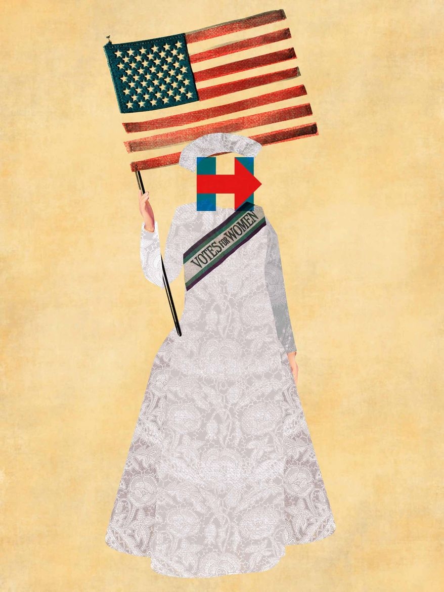 Illustration on Hillary and feminism by Linas Garsys/The Washington Times