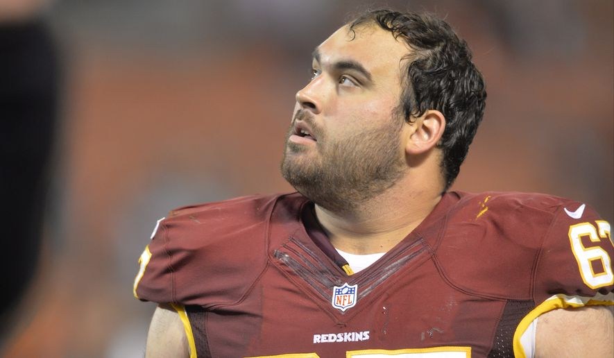 Washington Redskins guard Josh LeRibeus walks off the field after the Redskins defeated the Cleveland Browns 20-17 in an NFL preseason football game Thursday, Aug. 13, 2015, in Cleveland. (AP Photo/David Richard)