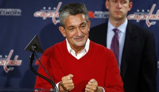 Washington Capitals owner Ted Leonsis speaks to the media before an NHL hockey game against the Ottawa Senators, Wednesday, Dec. 16, 2015, in Washington. Leonsis discussed the recent announcement that four teams participating in the 2016 World Cup of Hockey will hold pre-tournament practices and exhibition games in Washington Sept. 12-15, 2016. (AP Photo/Alex Brandon)
