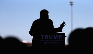 Republican presidential candidate Donald Trump speaks at a campaign rally, Wednesday, Dec. 16, 2015, in Mesa, Ariz. (AP Photo/Matt York)