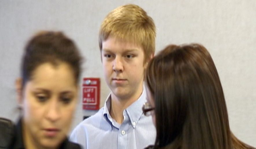 """FILE - In this December 2013 image taken from a video by KDFW-FOX 4, Ethan Couch is seen during his court hearing in Fort Worth, Texas. Authorities are investigating whether Couch, who killed four people in a 2013 drunken-driving wreck, and claimed as part of his defense that he suffered from """"affluenza"""", has fled with his mother to avoid a potential violation of his probation. (AP Photo/KDFW-FOX 4, File)"""