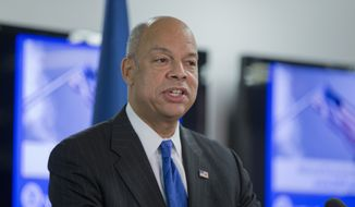 """Homeland Security Secretary Jeh Johnson discusses the updates to the National Terrorism Advisory System (NTAS), Wednesday, Dec. 16, 2015, at the Federal Emergency Management Agency (FEMA) National Response Coordination Center in Washington. Johnson announced changes to the government's terror advisory system. Color-coded alerts, put in place after the 9/11 attacks, were replaced in 2011. The current system includes """"elevated"""" and """"imminent"""" levels. (AP Photo/Manuel Balce Ceneta)"""