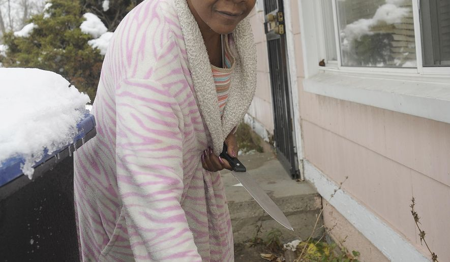 Fayette Coleman, 66, seen in a Nov. 24, 2015 photo, is a former factory worker and union representative who has survived without running water in Detroit for 2 years. She lives in Brightmoor and uses donated water as well as water that runs off her roof that she collects in a garbage can. A plan to address water shutoffs in Detroit likely will stress conservation, convenience and assistance to those having difficulty paying. A committee studying water affordability met for the final time Tuesday, Dec. 15, 2015, before finalizing a report due in January to City Council.  (Clarence Tabb Jr./Detroit News via AP)