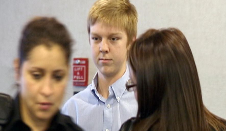 "FILE - In this December 2013 image taken from a video by KDFW-FOX 4, Ethan Couch is seen during his court hearing in Fort Worth, Texas. Authorities are investigating whether Couch, who killed four people in a 2013 drunken-driving wreck, and claimed as part of his defense that he suffered from ""affluenza"", has fled with his mother to avoid a potential violation of his probation. (AP Photo/KDFW-FOX 4, File)"