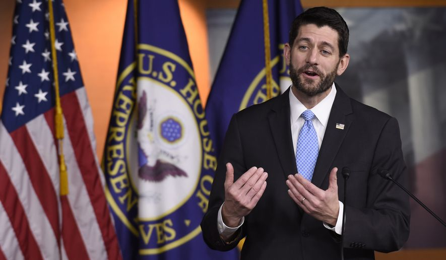 House Speaker Paul Ryan of Wis. gestures during an end-of-the-year news conference on Capitol Hill in Washington, Thursday, Dec. 17, 2015, as the Congress moves toward passage of a $1.1 trillion omnibus spending bill. (AP Photo/Susan Walsh)
