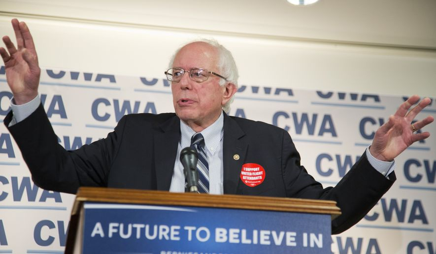 Democratic presidential candidate Sen. Bernie Sanders, I-Vt., speaks to reporters and members of the Communication Workers of America (CWA), following the union's endorsement of Sanders, Thursday, Dec. 17, 2015, at the CWA's headquarters in Washington.   (AP Photo/Manuel Balce Ceneta)