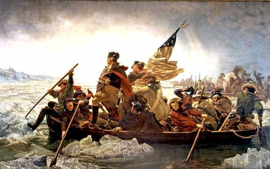George Washington and troops crossing the icy Delaware River.