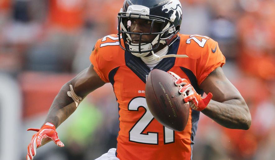 FILE - In this Sept. 13, 2015, file photo, Denver Broncos cornerback Aqib Talib scores against the Baltimore Ravens during the second half of an NFL football game in Denver. The Steelers at 8-5 need to keep winning to keep a playoff hope alive while a win for the Broncos could clinch them a division championship and a home game in the playoffs. (AP Photo/Jack Dempsey, File)