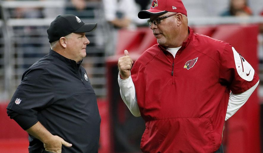FILE - In this Oct. 26, 2014, file photo, Arizona Cardinals head coach Bruce Arians, right, talks with Philadelphia Eagles head coach Chip Kelly prior to an NFL football game, in Glendale, Ariz. The Eagles and Cardinals play on Sunday. (AP Photo/Matt York, File)