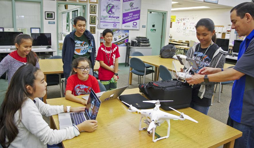 ADVANCE FOR WEEKEND DEC. 19-20, 2015 AND THEREAFTER - In this Monday, Dec. 14, 2015 photo, Chiefess Kamakahelei Middle School media instructor Kevin Matsunaga, far right, works with students Kasey Nakashima, Kirra Carvalho, Mia Matsunaga, Kolten Gusman, Kai Gokan and Alaysia Navor in the operation of a drone for a project at the school's library in Puhi, Hawaii. Operating a drone is kind of scary, but it is fun said Nakashima. Nakashima worked on a project with the CKMS media class using a drone. The FAA announced Monday it will require that aircraft, including drones, be registered to make it easier to identify owners and educate amateur aviators. (Dennis Fujimoto/The Garden Island via AP)