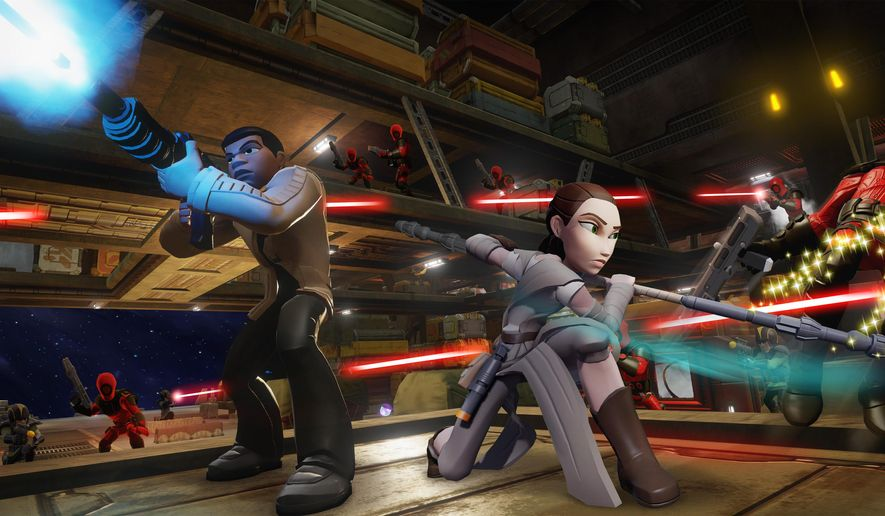 """This image provided by Disney Interactive shows a scene from the video game, """"Disney Infinity."""" It's the only game where fans can interactively experience the super-secret storyline. (Disney Interactive via AP)"""