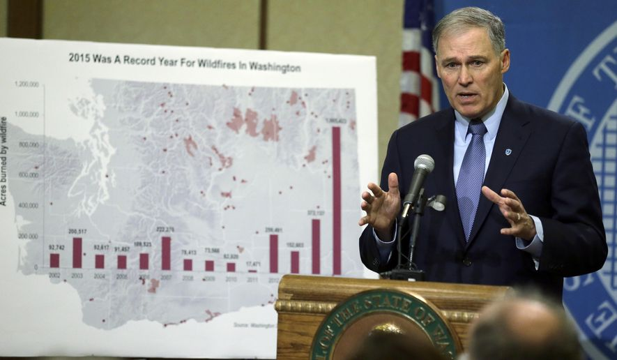 Washington Gov. Jay Inslee talks about his proposed supplemental budget plan, Thursday, Dec. 17, 2015, in Olympia, Wash. The plan would adjust the current two-year state budget, including putting more money toward covering wildfire costs (shown on the chart at left) and increasing mental health spending. Inslee also announced a separate proposal to increase teacher pay. (AP Photo/Ted S. Warren)