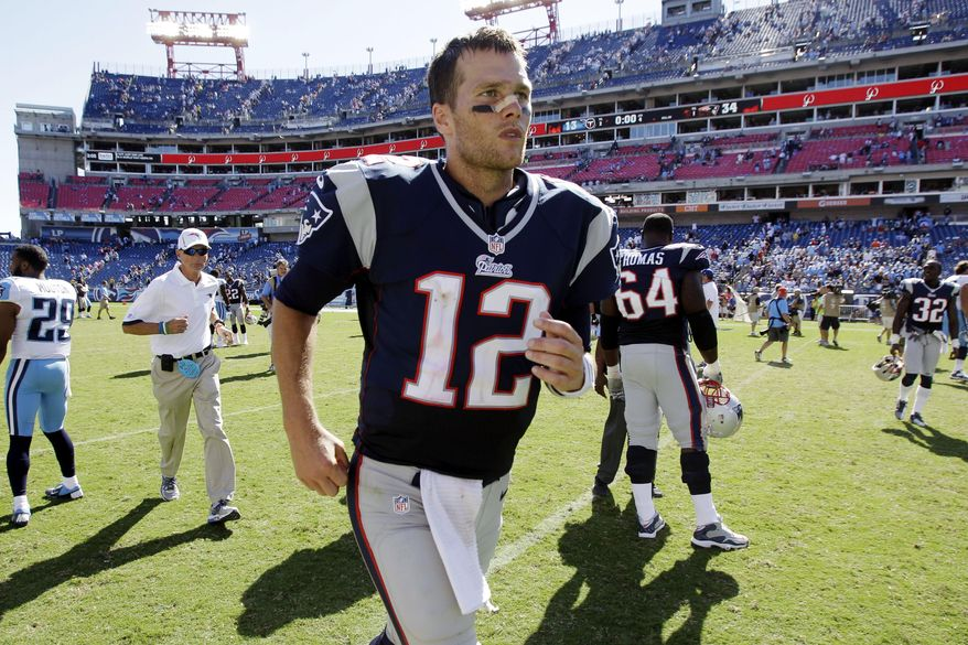 FILE - In this Sept. 9, 2012, file photo, New England Patriots quarterback Tom Brady (12) leaves the field after defeating the Tennessee Titans 34-13 in an NFL football game, in Nashville, Tenn. The Titans play the New England Patriots on Sunday. (AP Photo/Wade Payne, File)