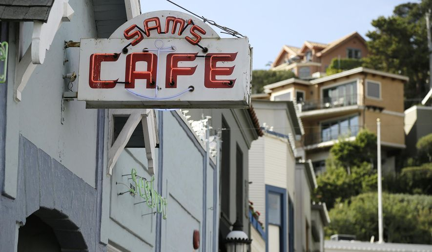 In this photo taken Thursday, Nov. 5, 2015, a sign hangs outside the popular Sam's Cafe on Main Street in Tiburon, Calif. The restaurant is known for its waterfront dining and dates to 1920. (AP Photo/Eric Risberg)