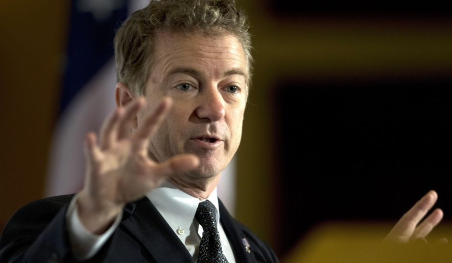 Kentucky Sen. Rand Paul, a Republican candidate for president, responds to a question during a meeting of the Economic Club of Las Vegas at Caesars Palace in Las Vegas on Wednesday, Dec. 16, 2015. (Steve Marcus/Las Vegas Sun via AP) MANDATORY CREDIT