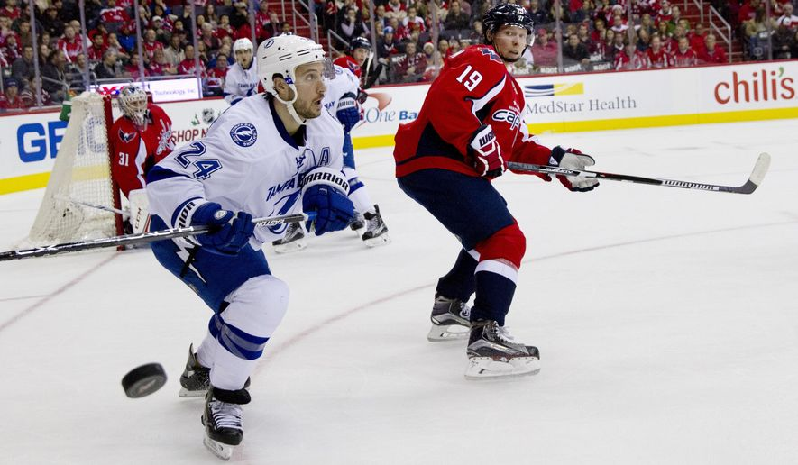 Tampa Bay Lightning right wing Ryan Callahan (24), works a play by the goal against Washington Capitals center Nicklas Backstrom (19) during the second period of a hockey game at the Verizon Center in Washington on Friday, Dec. 18, 2015. (AP Photo/Jacquelyn Martin)