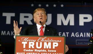 Republican presidential candidate Donald Trump speaks during a campaign rally at the Veterans Memorial Building, Saturday, Dec. 19, 2015, in Cedar Rapids, Iowa. (AP Photo/Charlie Neibergall) ** FILE **