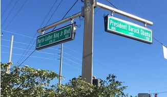 The intersection of Martin Luther King, Jr. Blv. and the newly named President Barack Obama Highway in Riviera Beach, Fla. (Image: Palm Beach Post)