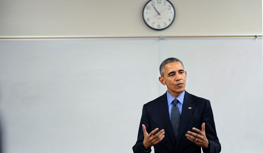 President Barack Obama speaks to the media at Indian Springs high school after meeting with victims families in San Bernardino Friday, Dec. 18, 2015.  (Wally Skalij/Los Angeles Times via AP)