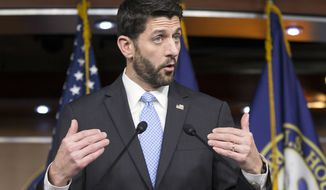 In this Dec. 17, 2015, photo, House Speaker Paul Ryan of Wis. speaks during an end-of-the-year news conference on Capitol Hill in Washington.  (AP Photo/J. Scott Applewhite)