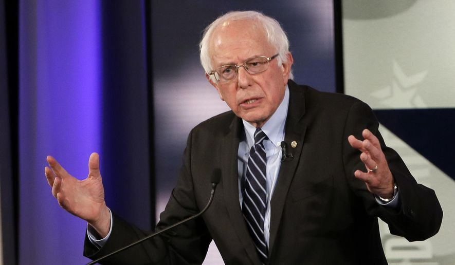 In this Nov. 14, 2015, file photo, Bernie Sanders makes a point during a Democratic presidential primary debate in Des Moines, Iowa. (AP Photo/Charlie Neibergall, File)