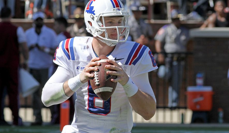 FILE - In this Oct. 17, 2015, file photo, Louisiana Tech quarterback Jeff Driskel (6) looks for a receiver during the first half of a NCAA college football game against Mississippi State in Starkville, Miss. Driskel will end his college career in the Superdome, where his 2012 Florida squad was routed by Louisville in the Sugar Bowl. (AP Photo/Jim Lytle, File)