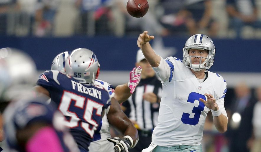 FILE - In this Oct. 11, 2015, file photo, Dallas Cowboys' Brandon Weeden (3) throws against the New England Patriots during the first quarter of an NFL football game,  in Arlington, Texas. The list of key players injured this season would make even some coaches shudder. Particularly when they look at who has to fill in. Then again, some players actually seized the moment and were just as good as the guy who was ahead of them on the depth chart. (AP Photo/Brandon Wade, File)