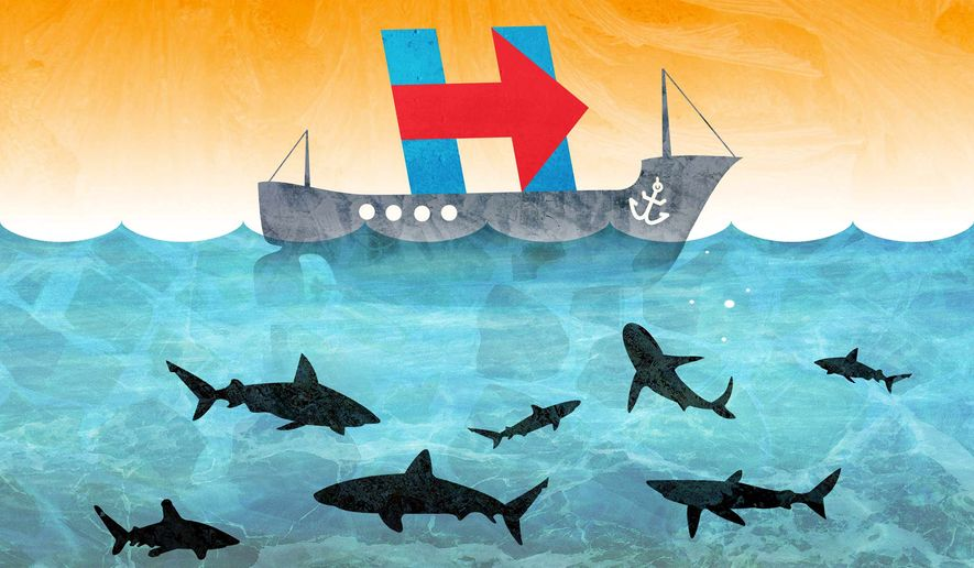 Good Ship Hillary in Peril Illustration by Greg Groesch/The Washington Times