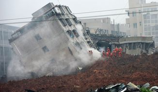 Rescuers search for survivors on a collapsed building following a landslide in Shenzhen, in south China's Guangdong province, Sunday, Dec. 20, 2015. (Associated Press)