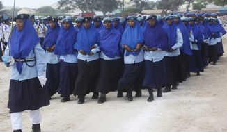 Somali Police Women march at the police academy compound during celebrations to mark the 72nd anniversary of the formation of the police force, in Mogadishu, Somalia, Sunday, Dec. 20, 2015. (AP Photo/Farah Abdi Warsameh)