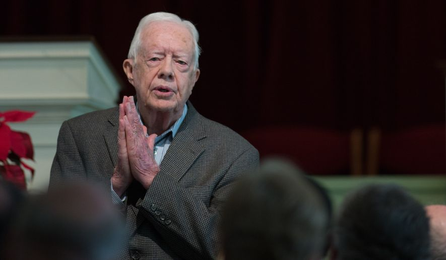 Former President Jimmy Carter teaches a Sunday School class at Maranatha Baptist Church in Plains, Georgia, even in the face of sorrow. (Associated Press/File)